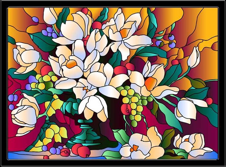 Картина, раскраска, витраж, витражи, витраж-раскраска, купить витраж, картина на стекле, купить витраж - Букет магнолий - Zvetnoe.ru - картины по номерам