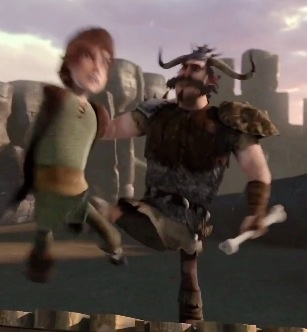 Hiccup getting kicked by Savage  Ouch!   Dragons: Riders of Berk in
