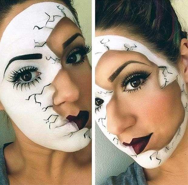 Broken Porcelain Doll Makeup Look for Halloween