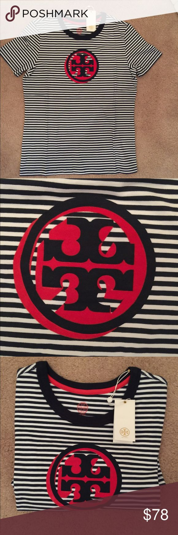Tory Burch Bria logo cotton tee shirt % authentic Tory Burch Bria logo tee shirt NWT striped cotton tee with contrast trim crew neck short sleeves size medium red white & blue never been worn Tory Burch Tops Tees - Short Sleeve