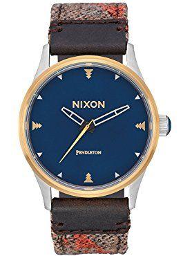 Nixon Men's 'Sentry 38 Leather' Quartz Metal and Cloth Automatic Watch, Multi Color (Model: A3772615-00) ❤ Nixon Inc.