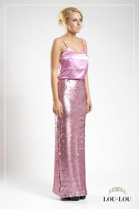 Falda París en paillettes rosa y Musculosa Estrasburgo en rosa