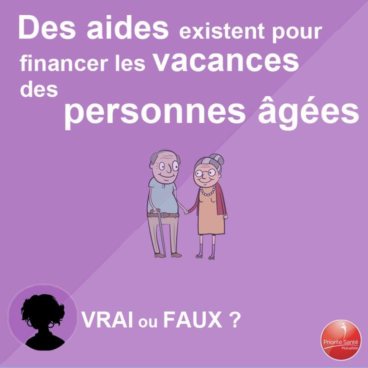 La caisse nationale d'assurance vieillesse (CNAV) participe au financement de séjours de vacances pour les plus démunis. Les conditions d'attribution de ces aides sont établies par chaque caisse régionale d'assurance maladie (CRAM). http://www.prioritesantemutualiste.fr/psm/bien-vieillir/19688/quelles-sont-les-aides-pour-financer-les-sejours-de-vacances-des-personnes-agees