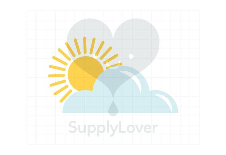 SUNNY WITH CLOUDS Clip-Art Commercial Use, Weather, Sun, Sunshine, Cloud, Partially Cloudy, Weather Forecast, Yellow, Blue - A0069
