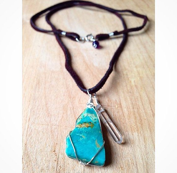 Genuine Kingsman Turquoise Wire Wrap Necklace on Brown Suede; pretty, crystals, crystal jewelry, hippie, natural, raw, necklaces, blue