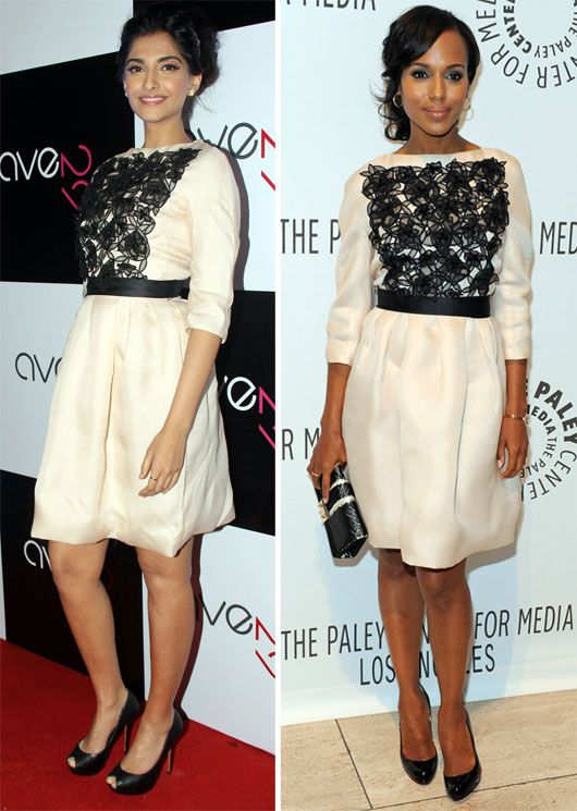 Sonam Kapoor or Kerry Washington wearing the same lace monochrome outfit!