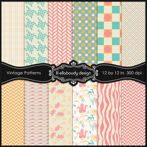 Set of 12 vintage inspired digital papers. These will look great in party supplies, stationary, apparel, envelopes, cards and invites and ATC cards. Can be used to create items for your own print on demand store and printed goods  for your Etsy store.