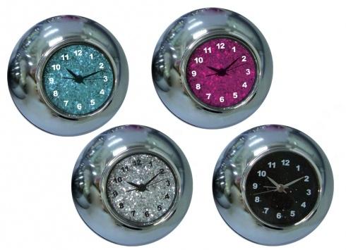 OROLOGIO SVEGLIA TAVOLO GRANDE GLITTER 4 VERSIONI. Orologio a forma di palla in metallo cromato con quadrante con glitter in 4 varianti di colore