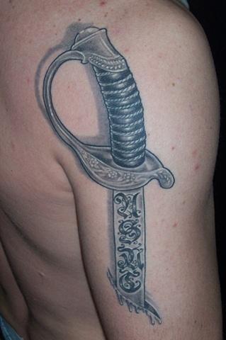 Usmc sword done by travis hulshizer of supernova tattoo for Tattoo fayetteville ar