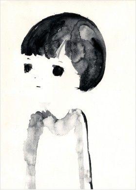 Dessin Portrait d'Enfant noir et blanc - Peinture de Kentaro Minoura