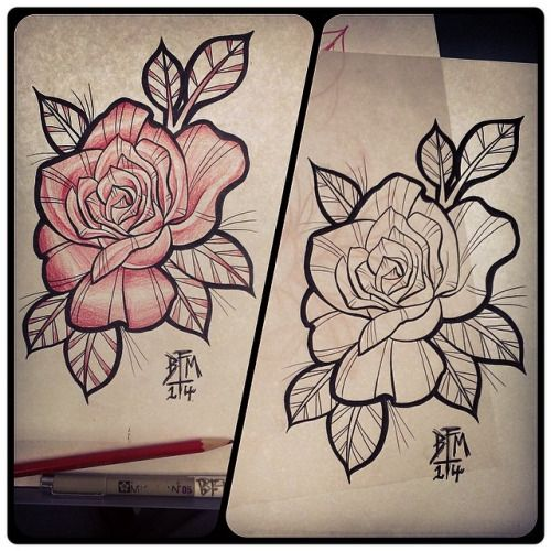 neo traditional rose tattoo flash - Google Search