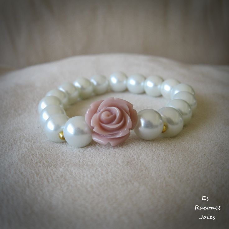 Pulsera perlas con flor rosa. INFO : https://www.facebook.com/esraconet.joies