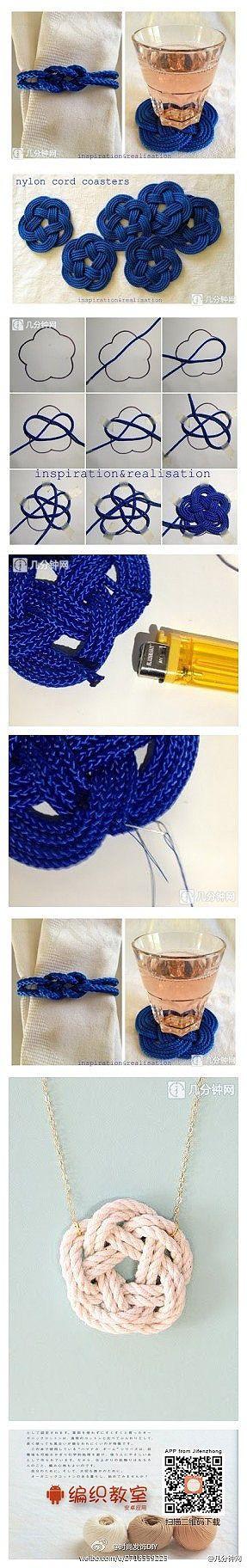 DIY tecidos à mão criativo flor nó, também pode fazer porta-copos ornamentos. ~