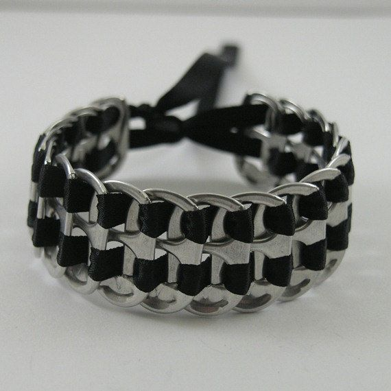 pop tab bracelet  black stacked weave
