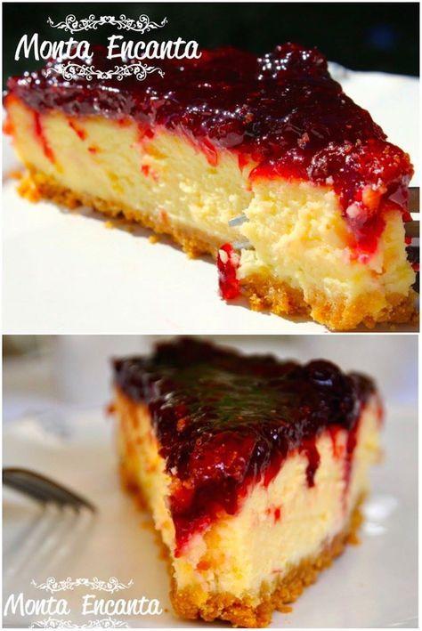 Cheesecake – Torta americana a base de queijo, com toque de limão, montada sobre uma massa fina e delicada de biscoitos, levada ao forno e coberta por uma generosa camada de geleia de frutas …