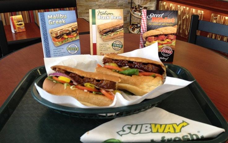 Subway Vegan Sandwiches - Healthier?   Details:  http://myqute.com/blog/subway-vegan-sandwiches-healthier/: Go Vegans, Black Beans, Subway Introducing, Dairyfreevegan Recipes, Vegans Sandwiches, Introducing Vegans, Vegans Subway, Vegans Food, Restaurant Chains