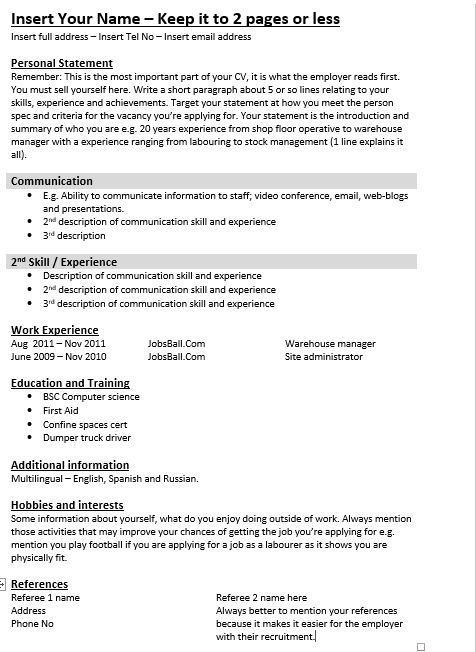 simple skills cv template promote your skilss  jobsball co uk  cvresume php