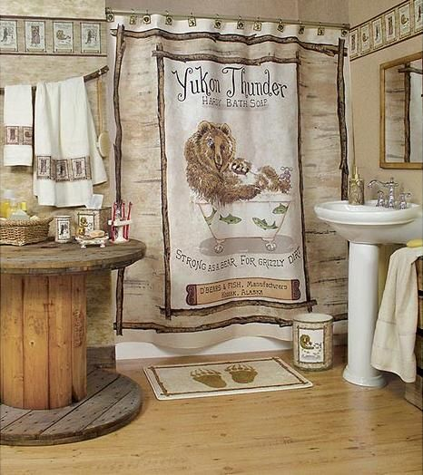 Shower curtains moose motif - Has Drawn Borders That Matches The Curtain Shower And Pinteres
