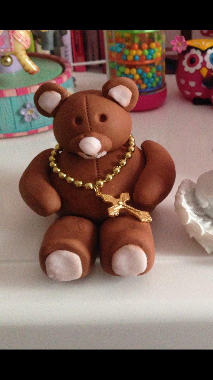Gum paste bear for cake topper.