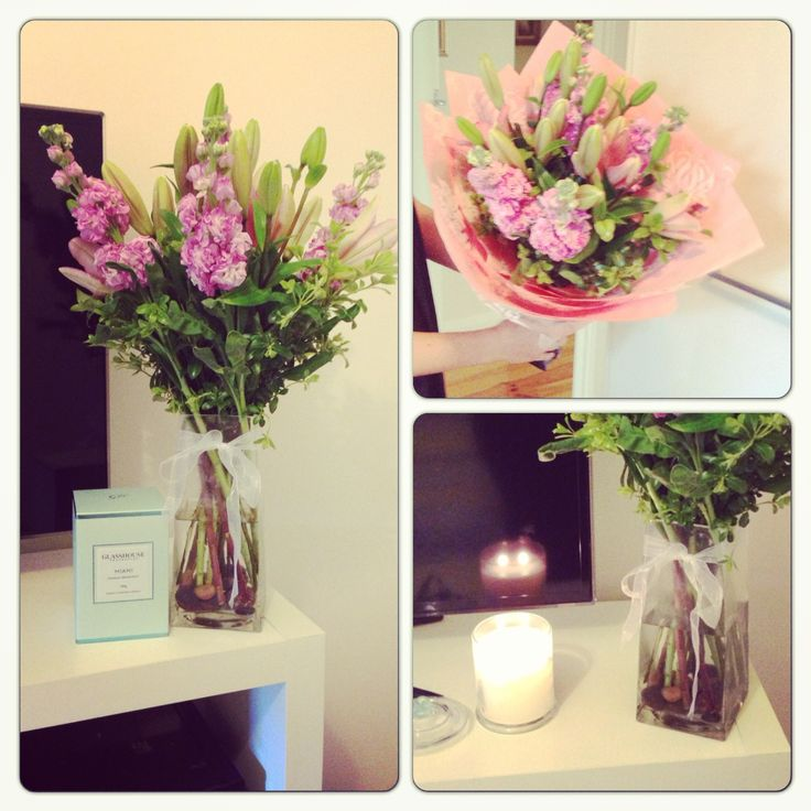 Miami glasshouse candle and fresh flowers