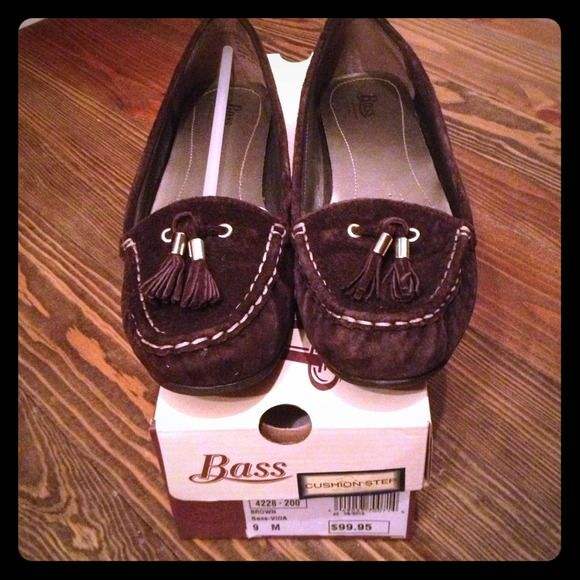 Chocolate brown suede loafers with gold detail New in box. Has a cushion step insole for added comfort Shoes Flats & Loafers