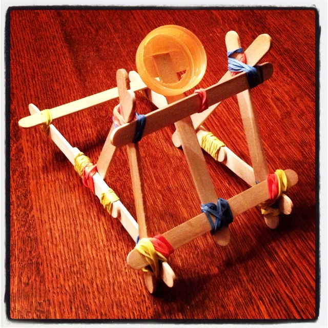 Homemade Popsicle Stick Catapult #1. | Catapults ...  How To Build A Catapult With Popsicle Sticks