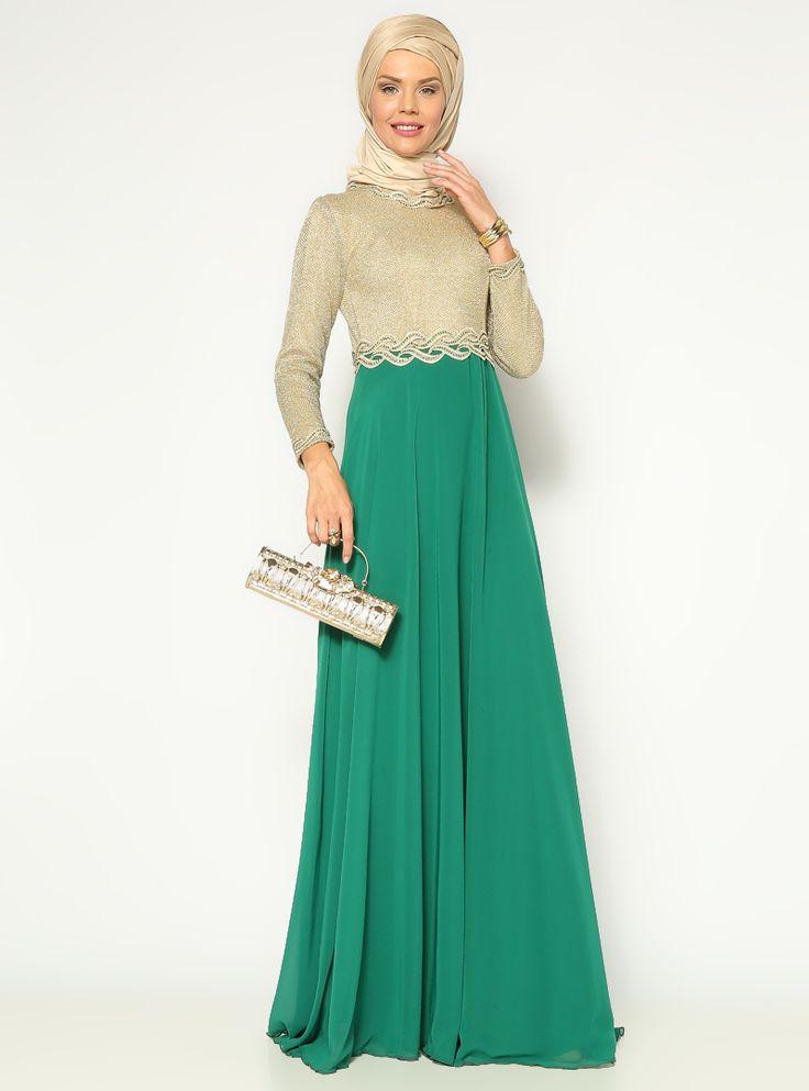 Taş İşlemeli Abiye Elbise - Yeşil - Mileny ::