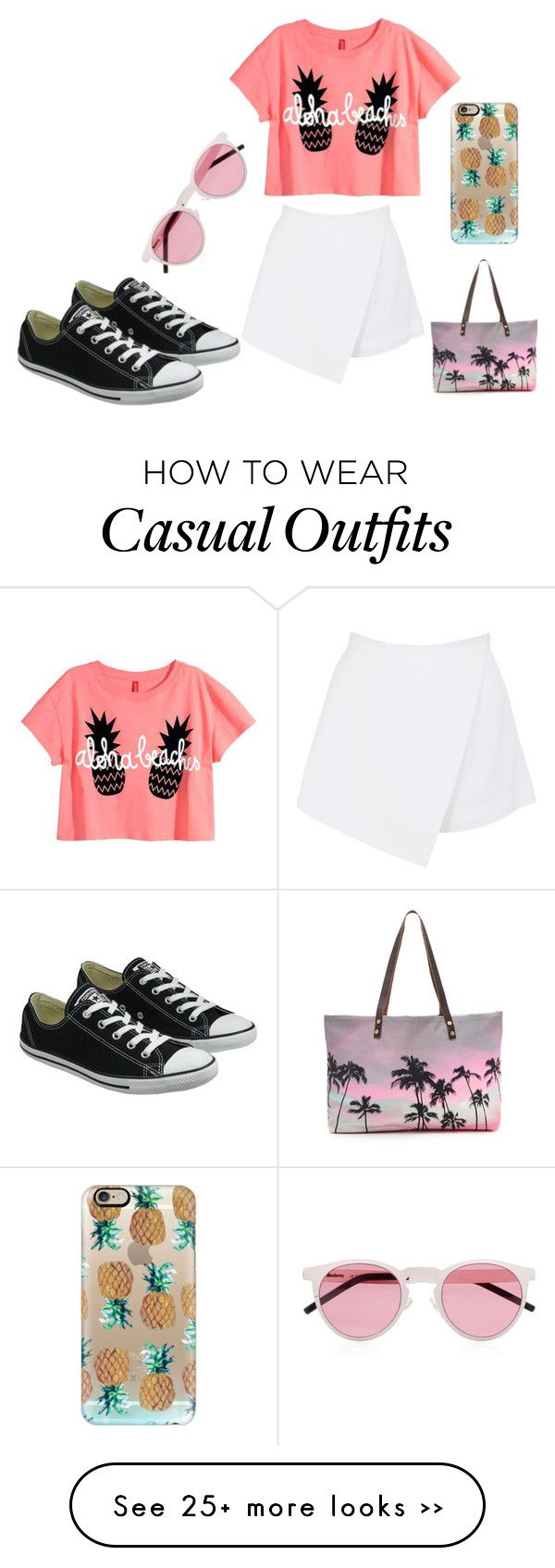 """""""Summer Casual"""" by catwalk-664 on Polyvore featuring Casetify, Illesteva, BeginAgain Toys, Samudra and Converse"""
