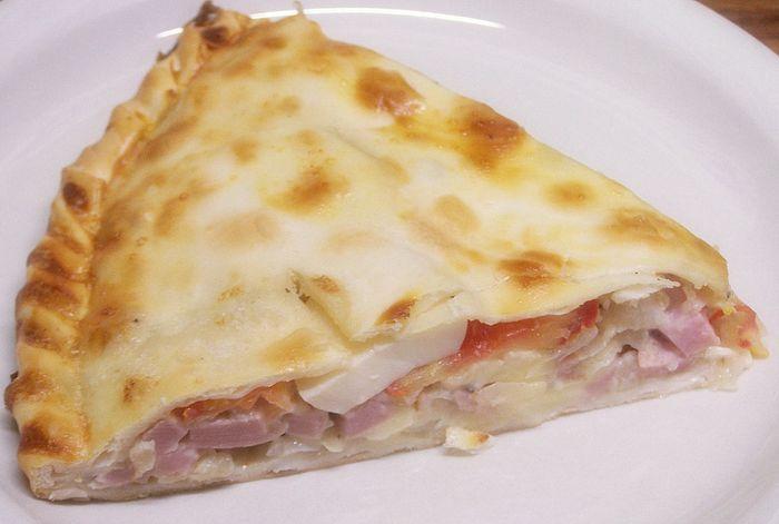 Tarta de jamón, queso, huevo duro y tomate  #tartas #jamon #cocina #recetas