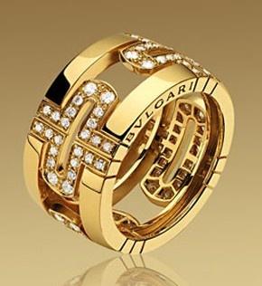 bvlgari gold and diamond ring