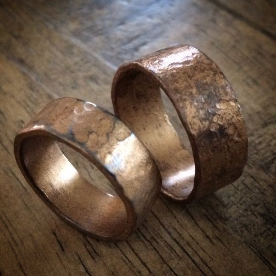 Commitment Ring Set Rustic Bronzed Copper by MistyMountainForge