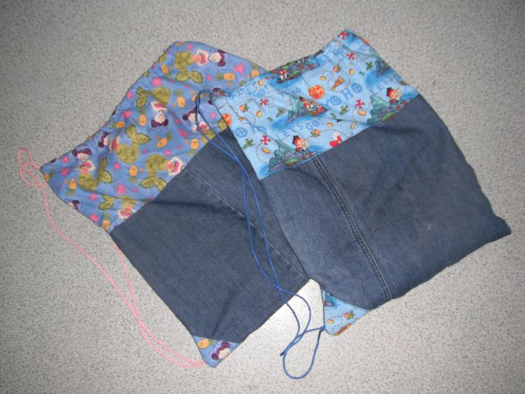 Kids swimming bags using recycled denim