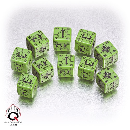 Green-black German battle dice set