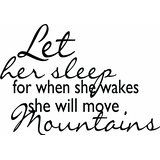 "Amazon.com: Top Selling Decals - Prices Reduced : Let Her Sleep For When She Wakes She Will Move Mountains Picture Art Quote -COLOR=BLACK -SIZE=17""x23"" - Inspirational Design - ticker - Vinyl Wall: Automotive"