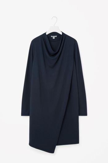 COS image 2 of Draped collar jersey dress in Navy