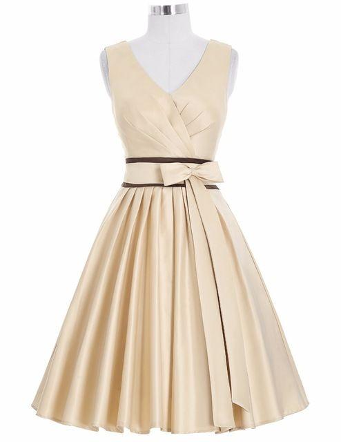 Women Summer Dress 2016 Plus Size V-Neck Bridal Satin Apricot Retro Big Swing Casual Party Vestidos Rockabilly Vintage Dresses