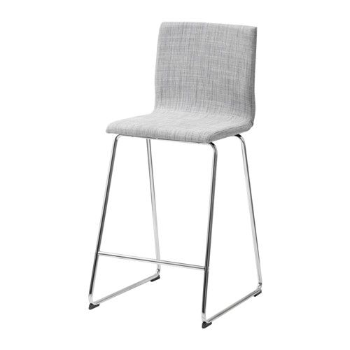 IKEA - VOLFGANG, Bar stool with backrest, chrome-plated/Isunda grey, , You sit comfortably thanks to the restful flexibility of the seat.You sit comfortably thanks to the padded seat.With footrest for relaxed sitting posture.