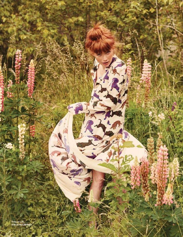 Amanda Smith Wears Romantic Prints, Lensed By David Burton For Elle France Aug 7, 2015