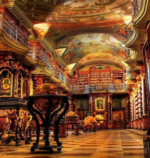 Klementinum Library, Prague - Even better than the library in Beauty and The Beast. I want this in my house!