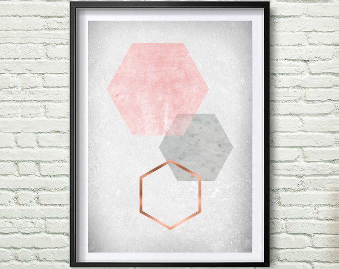 Blush Print, Blush Wall Art, Blush Poster, Copper Print, Copper Scandinavian Print, Blush Home Decor, old paper texture, Hexagon Art *193*