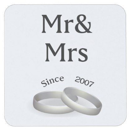 #10th anniversary matching Mr. And Mrs. Since 2007 Square Paper Coaster - #WeddingCoasters #Wedding #Coasters Wedding Coasters