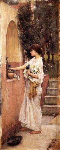 """A Roman Offering"", c. 1891, by John William Waterhouse (British, 1849-1917)"