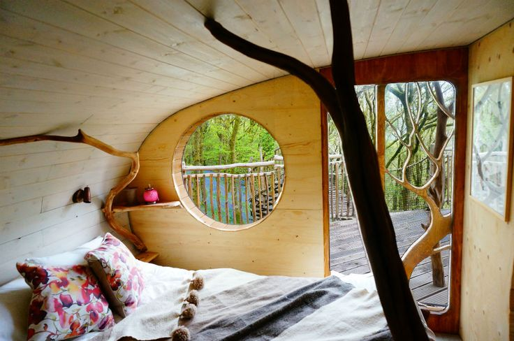 Gwdy Hw tree house - The Welsh Mountains are perfect for short break holidays and this tree house sitting 30 feet up could be your ideal woodland getaway. A short hike into the woods and up a dramatic wooden spiral staircase, you will see the simple, beautiful curved pods housing double and bunk beds.