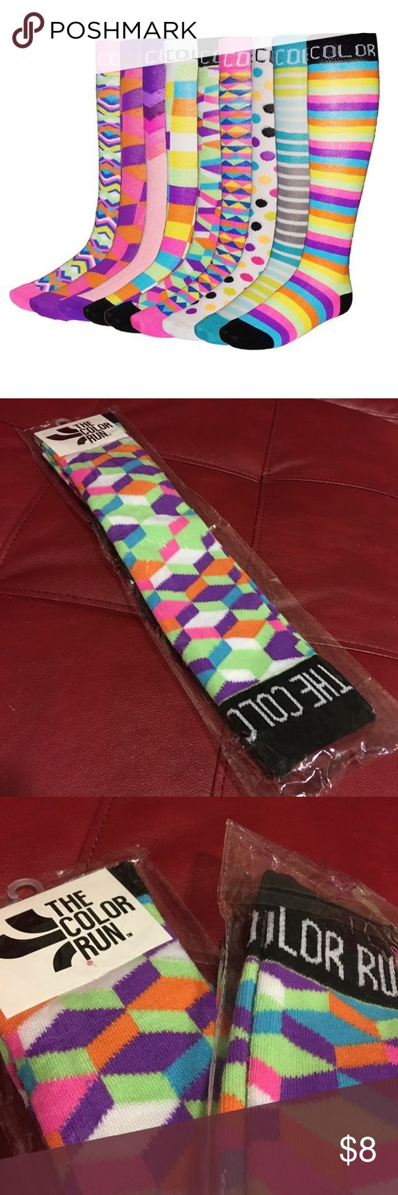 💚The Color Run Retro Running Socks💙 The Color Run Retro Running Socks...brand-new...so do you plan on running this coming year or just want some fun, funky knee high socks..here ya go!..price firm 😊👍🏻 THE COLOR RUN Accessories Hosiery & Socks