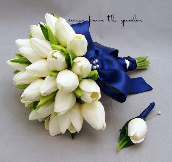 Tulips Bridal Bouquet White Navy maybe with orange tulips instead? and with rope around the base?