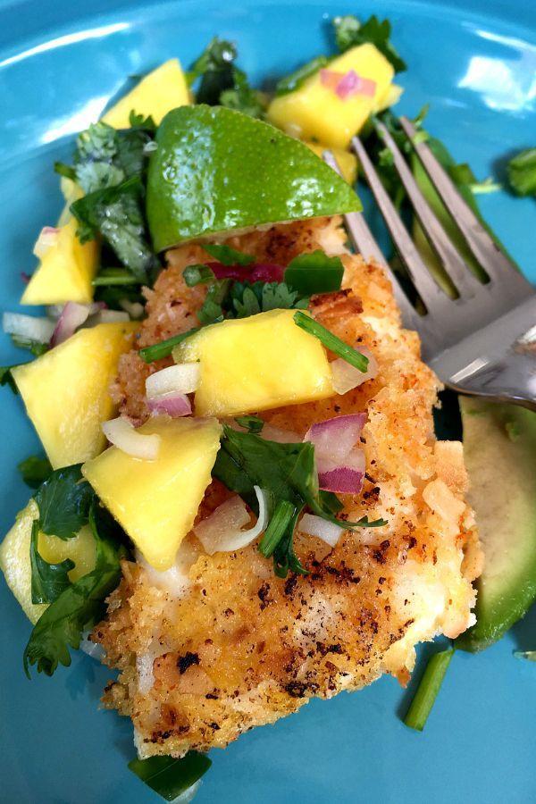 Coconut Crusted Tilapia with Mango Salsa #healthy #tilapia #mango
