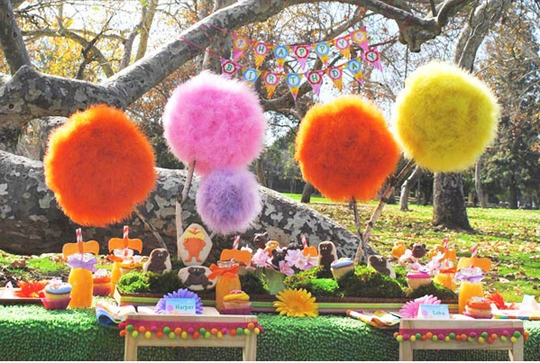 do paper pom poms and get some branches and make trees
