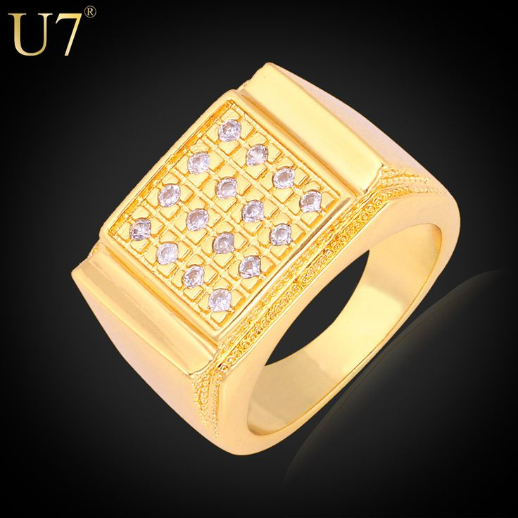 U7 Men Jewelry Rings With Luxury Zirconia Gold Plated Plated Party Gift Wedding Bands Ring For Men R323