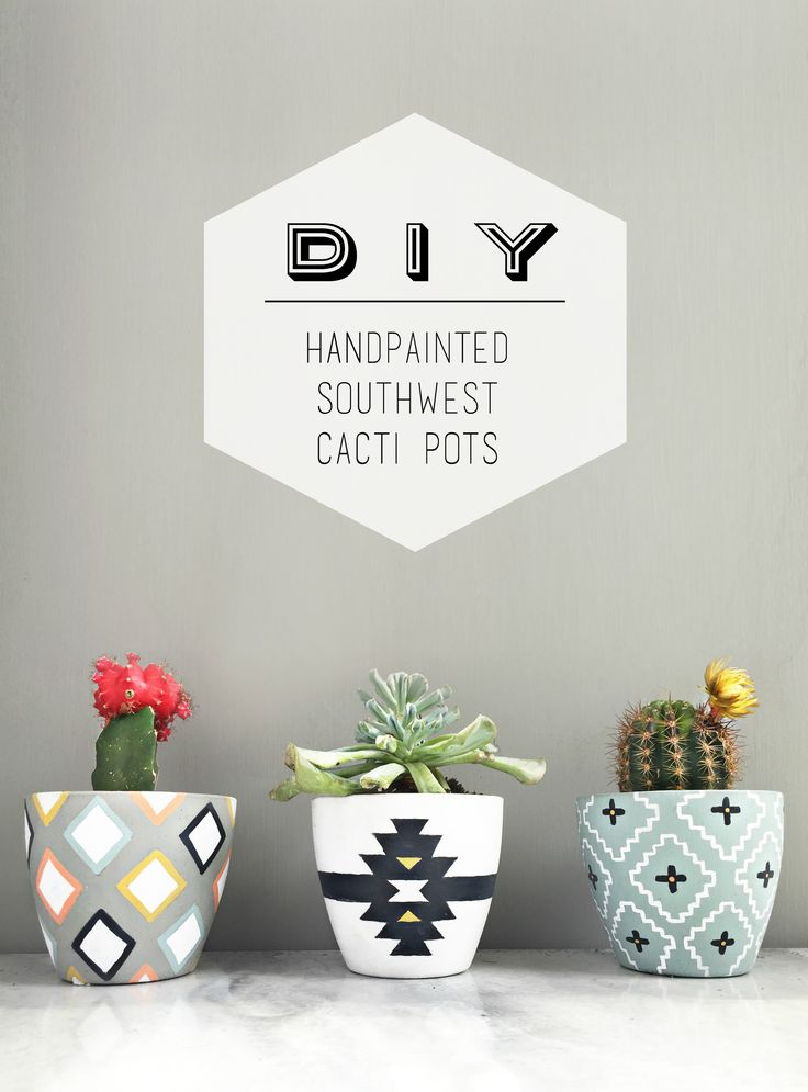 Why settle for drab planters, when you can easily personalize them to perfectly match your style & decor! DIY handpainted southwest cacti pots using Chalkworthy Antiquing Paint.