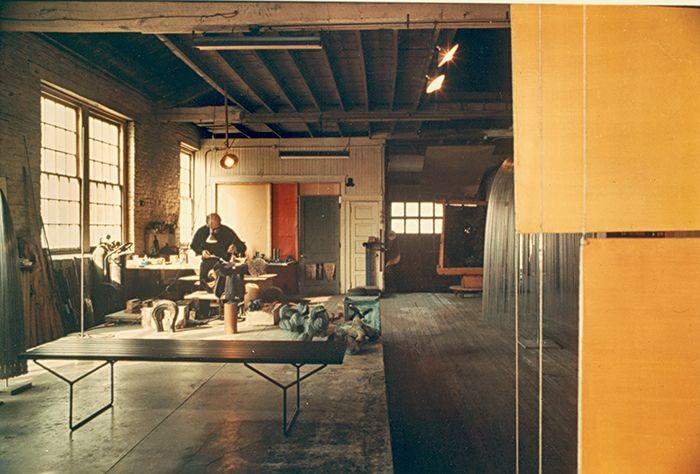 Bertoia working in his studio in Bally, Pennsylvania, 1952.   Knoll Inspiration